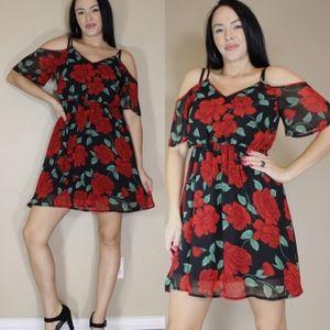 Red Rose Cold Shoulder Flowy Dress Summer A0111